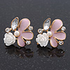 Pink Enamel Diamante 'Rose' Stud Earring In Gold Plating - 2cm Diameter