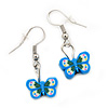 Children's Small Blue Acrylic 'Butterfly' Drop Earring In Silver Plating - 3cm Length