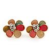 Multicoloured Enamel 'Flower' Stud Earrings In Gold Plating - 2cm Diameter