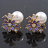 Purple Enamel Simulated Pearl Floral Stud Earrings In Gold Plating - 18mm Diameter