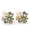 Light Blue Enamel Simulated Pearl Floral Stud Earrings In Gold Plating - 18mm Diameter
