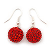 Red Swarovski Crystal Ball Drop Earrings In Silver Plated Finish - 12mm Diameter/ 3cm
