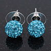 Light Blue Swarovski Crystal Ball Stud Earrings In Silver Plated Finish - 9mm Diameter