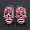 Small Dazzling Pink Crystal Skull Stud Earrings In Silver Plating - 2cm Length