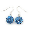 Sky Blue Swarovski Crystal Ball Drop Earrings In Silver Plated Finish - 12mm Diameter/ 3cm Length