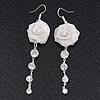 Light Silver Tone Mesh Crystal 'Rose' Drop Earrings - 8cm Length