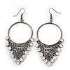 Clear Crystal Chain Hoop Earrings In Gun Metal - 8cm Length