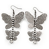 Long Lightweight Filigree Diamante 'Butterfly' Earrings In Gun Metal Finish - 8cm Length