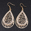Gold Plated Crystal Filigree Teardrop Earrings - 6.5cm Length