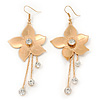 Long Flower With Crystal Dangles Earrings In Gold Plated Metal - 9cm Length