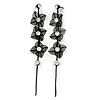 Long Black Floral Filigree Drop Earrings - 12.5cm Length