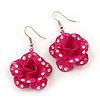 3D Deep Pink Diamante 'Rose' Drop Earrings In Silver Plating - 5cm Length