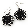 3D Black Diamante 'Rose' Drop Earrings In Silver Plating - 5cm Length