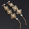 Long Gold Tone Floral Filigree Drop Earrings - 12.5cm Length
