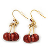 Small Sweet Red Resin 'Cherry' Drop Earrings In Gold Plating - 3.5cm Drop