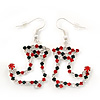 Red/Green/Clear Diamante 'Christmas Stocking' Drop Earrings In Silver Plating - 5cm Length