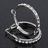 Clear Crystal Classic Hoop Earrings In Rhodium Plating - 3cm Diameter