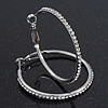 Clear Crystal Classic Hoop Earrings In Rhodium Plating - 4cm Diameter