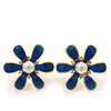 Blue Enamel Simulated Pearl Flower Stud Earrings In Gold Plating - 2cm Diameter