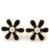 Black Enamel Simulated Pearl Flower Stud Earrings In Gold Plating - 2cm Diameter