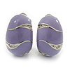 C-Shape Lavender Enamel Diamante Clip-On Earrings In Rhodium Plating - 18mm Length