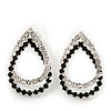 Black/Clear Crystal Open Teardrop Stud Earrings In Silver Plating - 3cm Length
