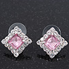 Light Pink/Clear Crystal Square Stud Earrings In Silver Plating - 15mm Diameter