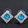 Teal Blue/Clear Crystal Square Stud Earrings In Silver Plating - 15mm Diameter