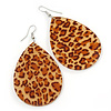 Large Resin 'Cheetah Print' Teardrop Earrings In Silver Plating - 7cm Length