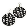 Black Round Metal 'Skull&Crossbones' Drop Earrings In Silver Plating - 6cm Length