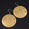Gold/Yellow Floral Hoop Earrings - 6cm Length