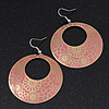 Gold/Coral Pink Cut-Out Floral Hoop Earrings - 6cm Length