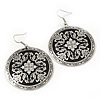 Black/Silver Pattern Round Drop Earrings - 6cm Length