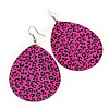 Long Deep Pink 'Animal Print' Teardrop Metal Earrings - 6.5cm Length
