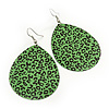 Long Green 'Animal Print' Teardrop Metal Earrings - 6.5cm Length