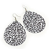 Long Black/White 'Animal Print' Teardrop Metal Earrings - 6.5cm Length