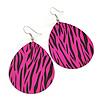 Long Deep Pink 'Zebra Print' Teardrop Metal Earrings - 6.5cm Length