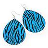 Long Blue 'Zebra Print' Teardrop Metal Earrings - 6.5cm Length