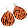 Long Orange 'Zebra Print' Teardrop Metal Earrings - 6.5cm Length