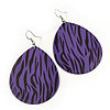 Long Violet 'Zebra Print' Teardrop Metal Earrings - 6.5cm Length