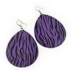 Long Violet 'Zebra Print' Teardrop Metal Earrings - 6.5cm Length