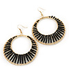 Long Black Glass Bead Wire Hoop Earrings In Gold Plating - 8cm Length