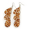 Light Brown/Beige Resin 'Animal Print' Teardrop Earrings In Silver Plating - 9cm Length