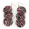 Long Stripy Acrylic Disk Drop Earrings In Silver Plating - 9cm Drop