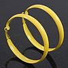 Large Bright Yellow Enamel Hoop Earrings - 6cm Diameter