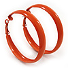 Medium Orange Enamel Hoop Earrings - 5.5cm Diameter