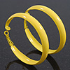 Medium Bright Yellow Enamel Hoop Earrings - 5.5cm Diameter