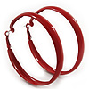 Large Burgundy Red Enamel Hoop Earrings - 6cm Diameter