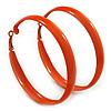 Large Orange Enamel Hoop Earrings - 6cm Diameter
