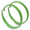 Large Salad Green Enamel Hoop Earrings - 6cm Diameter